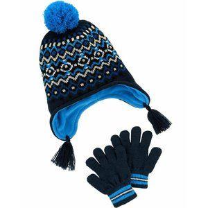 Carter's Blue Fair Isle Winter Hat & Gloves Set